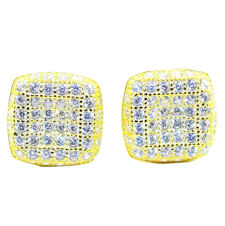 10MM Wide CZ Bling Bling Stud Earrings Sterling Silver Gold