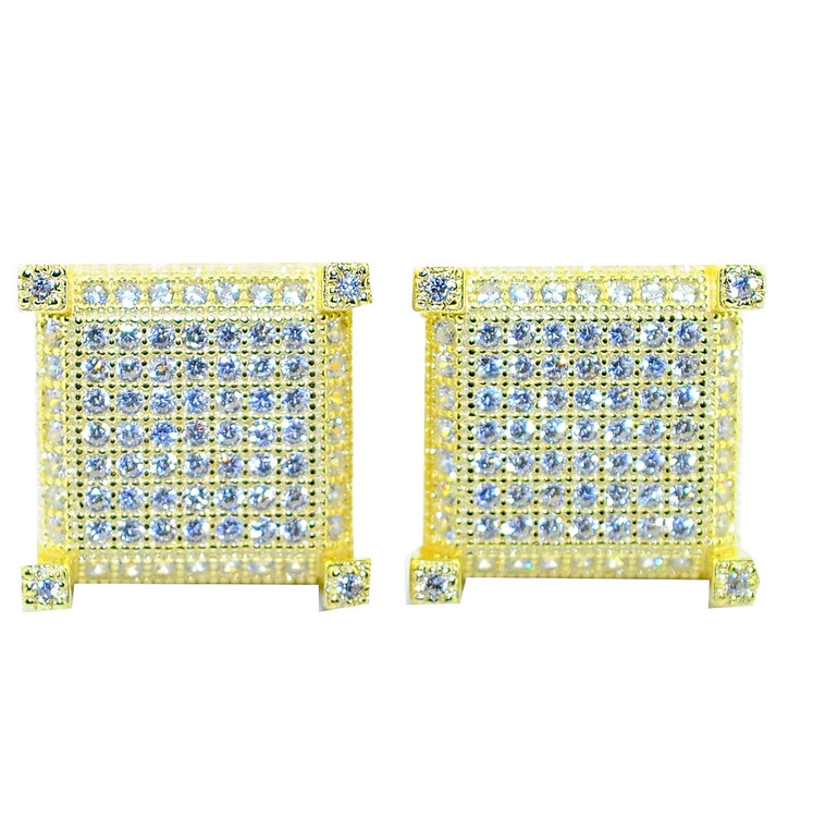 12.5MM Hip Hop CZ Bling Sterling Silver Yellow Gold Earrings