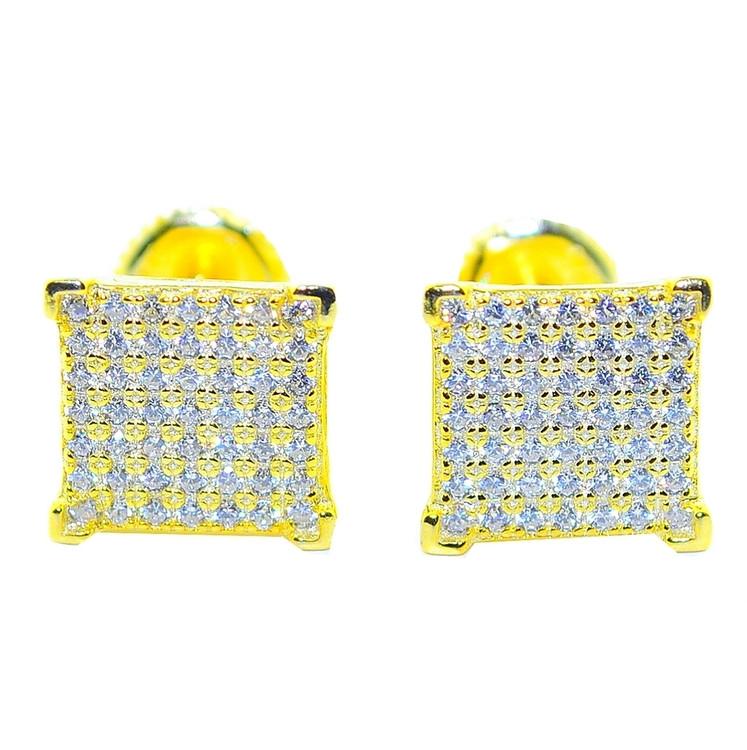 9.5MM CZ Hip Hop Stud Earrings Sterling Silver Princess Cut