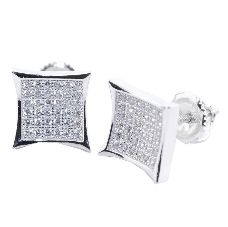 10MM Wide Cz Stone Iced Out Stud Earrings Sterling Silver