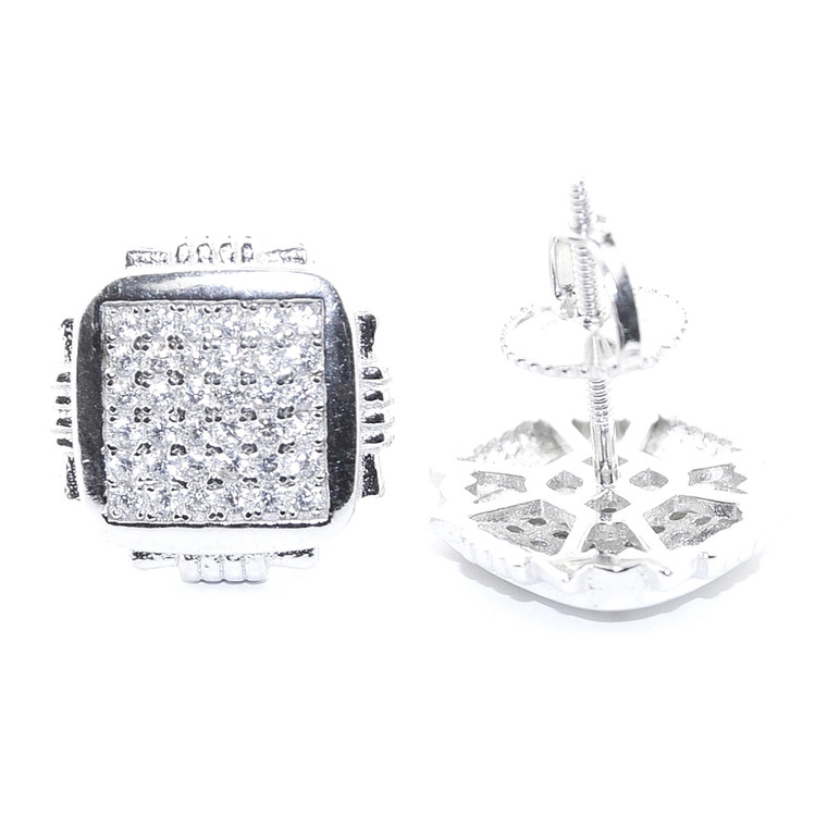 Hip Hop 12MM Wide CZ Earrings Sterling Silver Pave Set Square