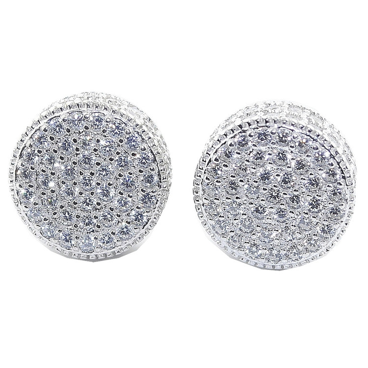 11.5MM Simulated Diamond Iced Out Silver Round Pave Set Earrings