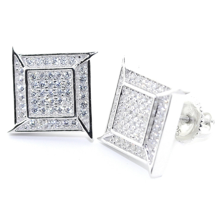 Mens Hip Hop 12MM Wide Diamond Cz Stud 925 Sterling Silver Earrings