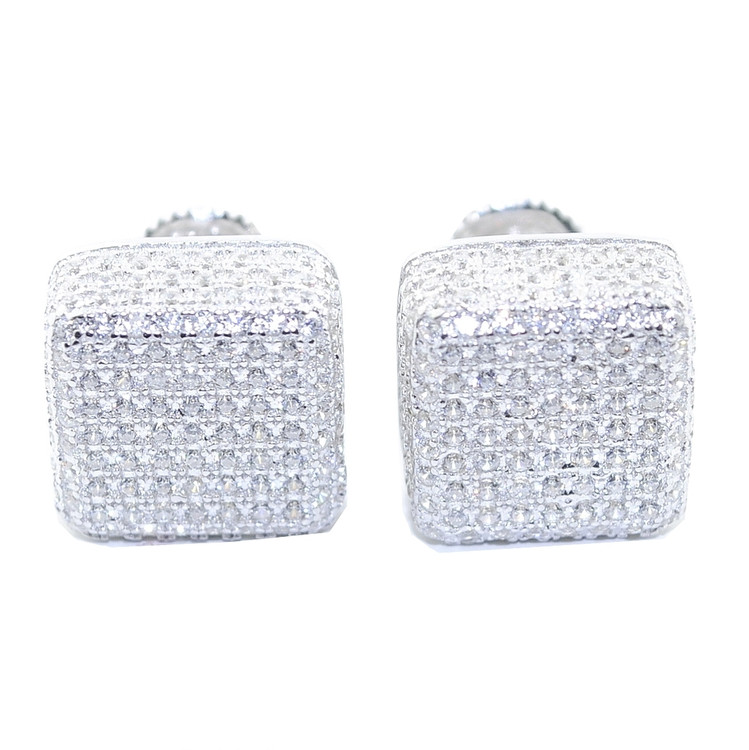 10.5MM Simulated Diamond 925 Solid Silver Cube Hip Hop Earrings