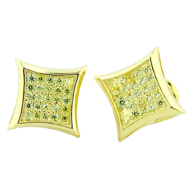 9mm 14K Gold Iced Out Kite Lemonade Diamond CZ Micro Pave Set Earrings