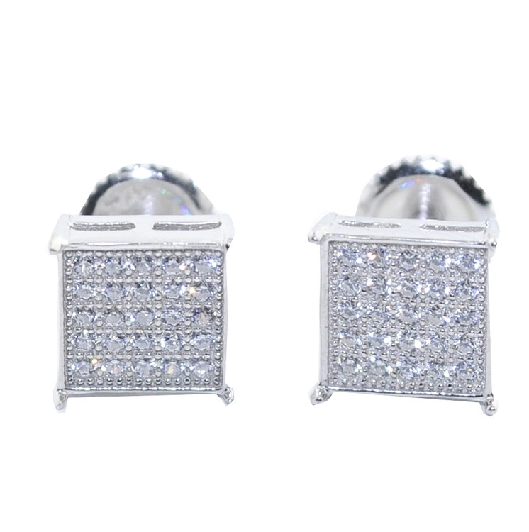 7.5MM Simulated Diamond 925 Silver Square Iced Out Earrings