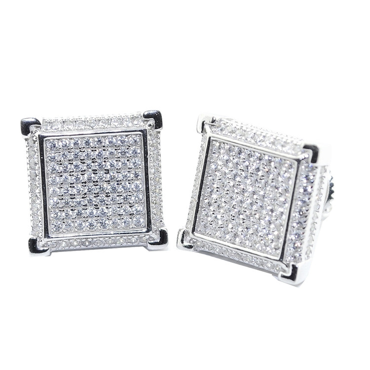 12.5MM Simulated Diamond Squares Sterling Silver Earrings