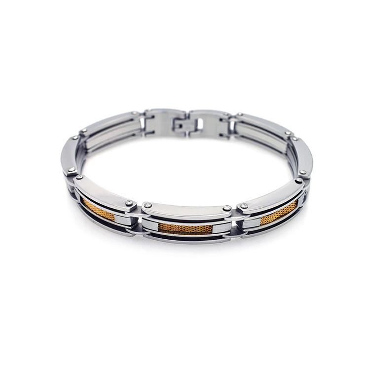 Mens 14k Gold Hip Hop Fence Link Stainless Steel Bracelet