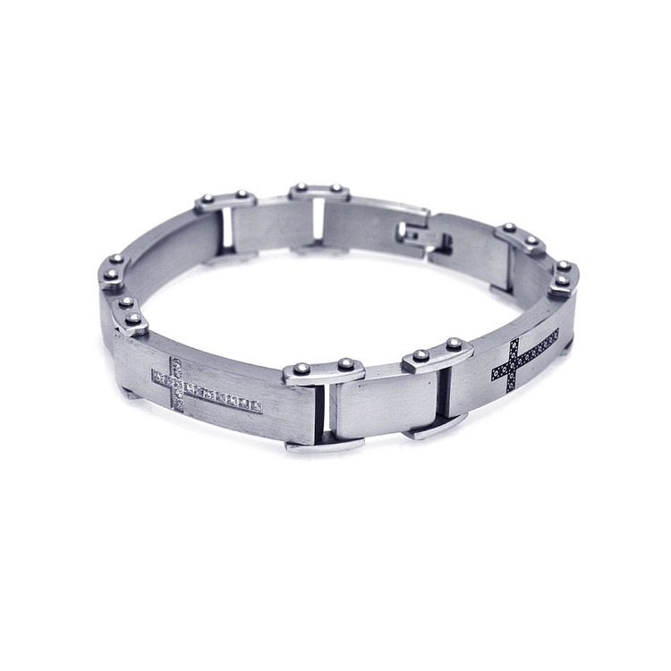 Men's Classic Gentlemens Stainless Steel Cross Design Bracelet
