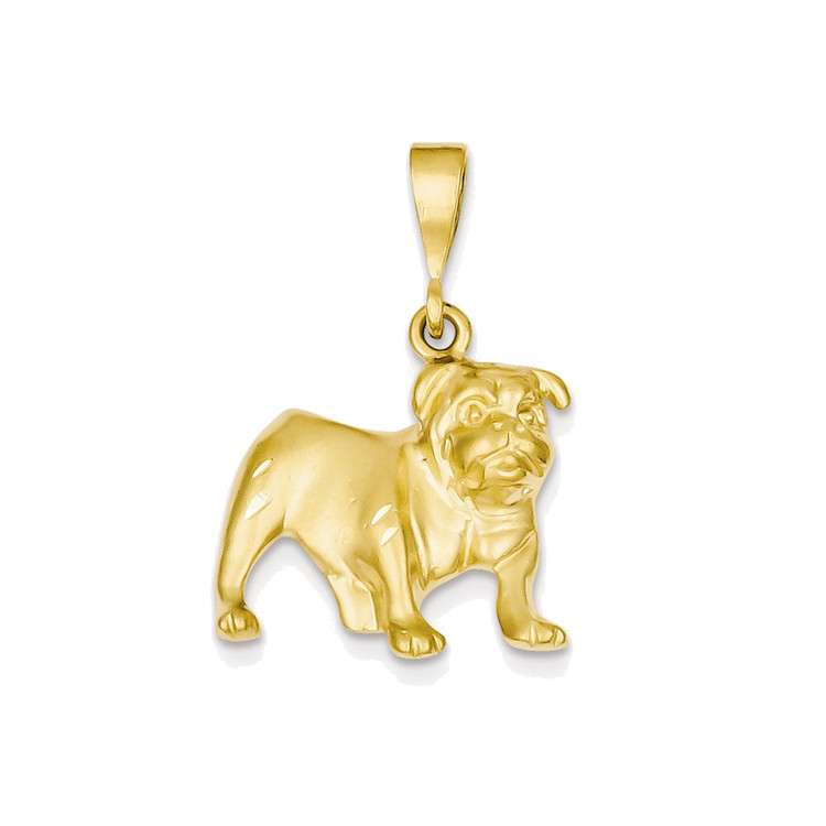 Mens 14k Yellow Gold Standing Bulldog Hip Hop Pendant