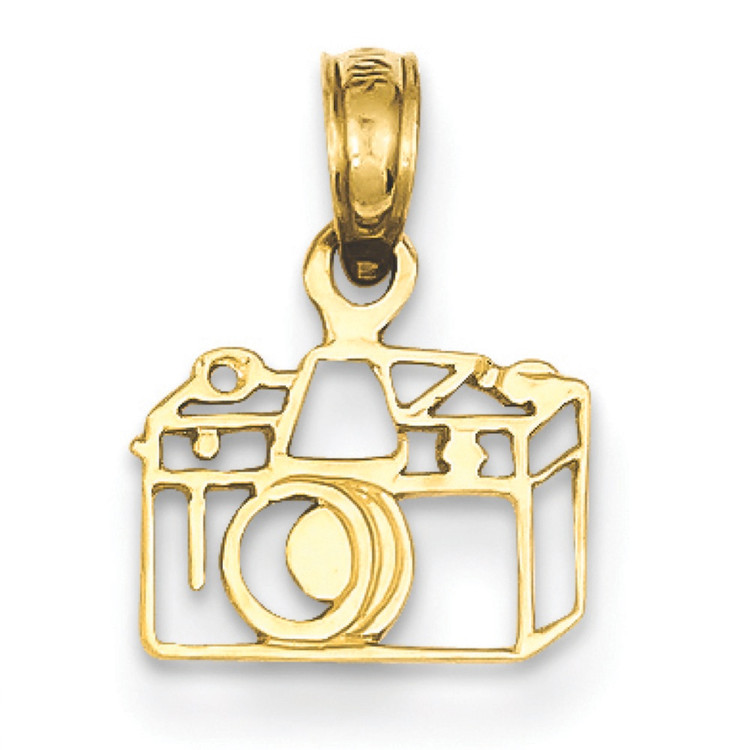 14k Yellow Gold Outlined Camera Charm Pendant