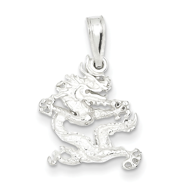 Mens 925 Sterling Silver Polished Dragon Hip Hop Pendant
