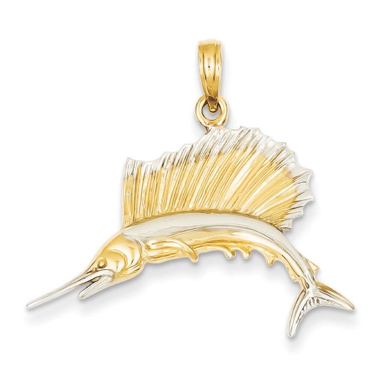 Mens 14k Yellow Gold Polished Sailfish Bling Jewelz Pendant