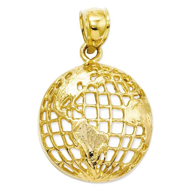 Mens 14k Yellow Gold Scarface Globe The World Is Your Hip Hop Pendant
