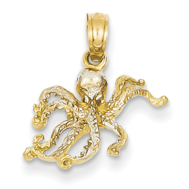 Mens 14k Yellow Gold Polished 8 Legged Octopus Bling Pendant