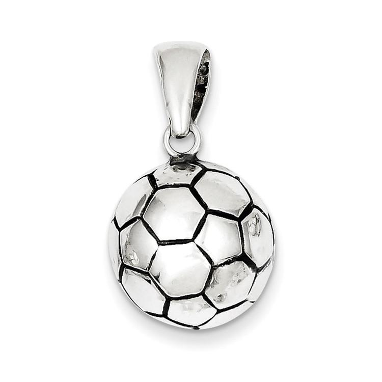 Sterling Silver 925 Antiqued Soccer Ball Pendant