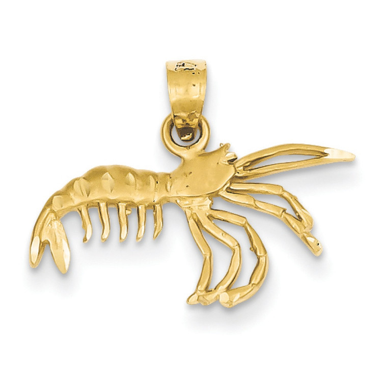 Mens Deep South 14k Yellow Gold Polished Crawfish Pendant