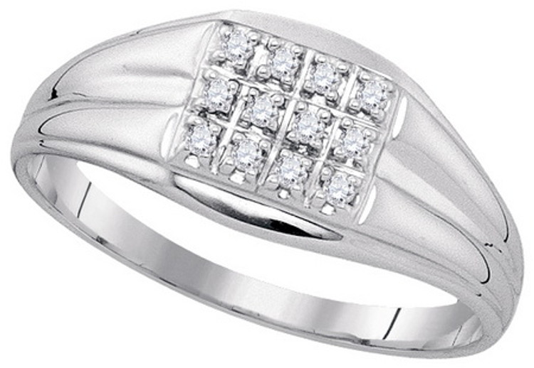 0.12CT Genuine Diamond Mens Sterling Silver Iced Out Ring