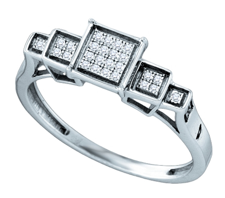 Mens Iced Out Micro Pave Sterling Silver 0.09CTW Diamiond Ring