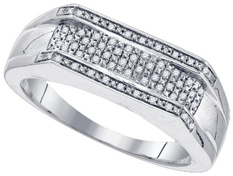 Mens Micro Pave Classic 925 Sterling Silver 0.16CTW Diamond Ring