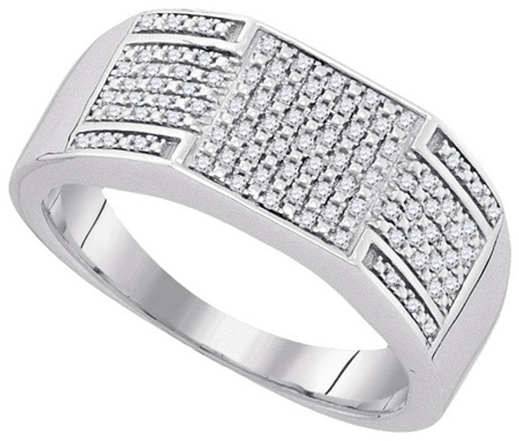 0.23Ctw Genuine Diamond Sterling Silver Micro Pave Iced Out Ring