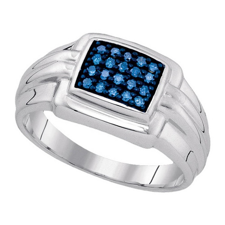 0.25 (Ctw) Blue Ice Mens 925 Sterling Silver Genuine Diamond Ring