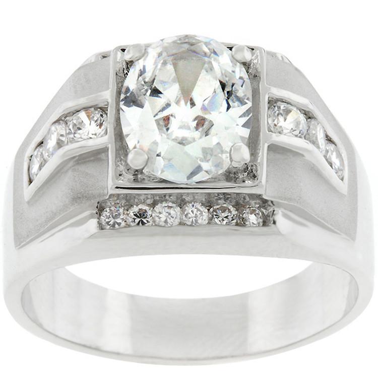 Mens Hip Hop Rhodium Silver Mustang Diamond Cz Ring