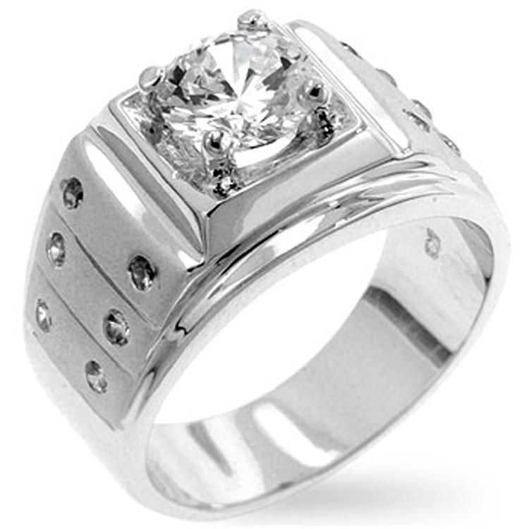 Mens Hip Hop Fearless Man Simulated Diamond Bling Ring