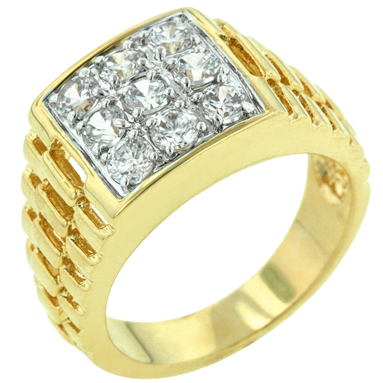 Mens 18k Gold High Society Simulated Diamond Iced Out Ring