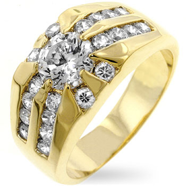 Mens Diamond Cz 18k Gold Iced Out Sunrise Ring