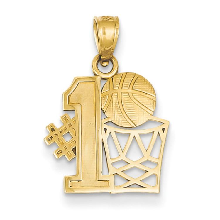 14k Yellow Gold #1 Basketball Bling Pendant