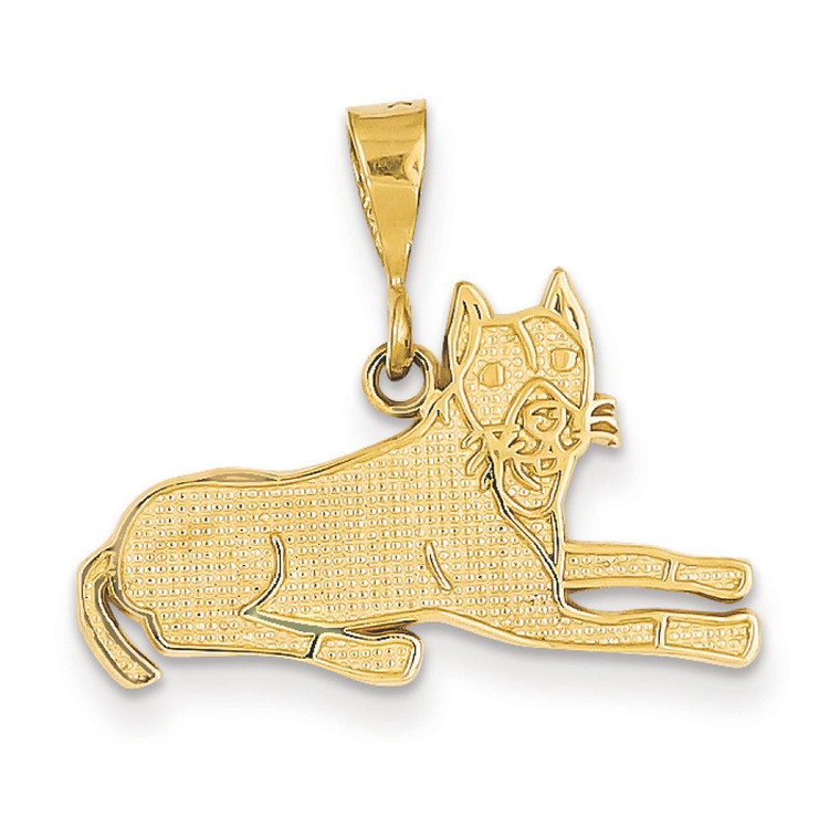 Mens 14k Yellow Gold Lying Pit-Bull Dog Bling Jewelz Pendant