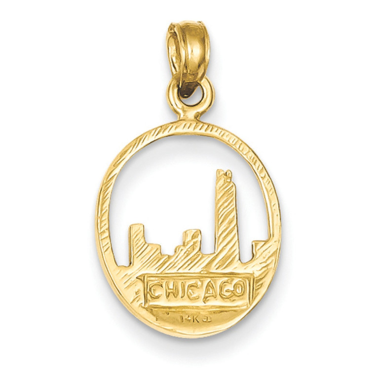 Mens 14k Yellow Gold Chicago Skyline Circle Bling Pendant