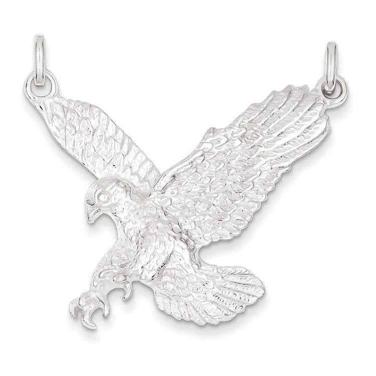 925 Sterling Silver Flying Bald Eagle Pendant