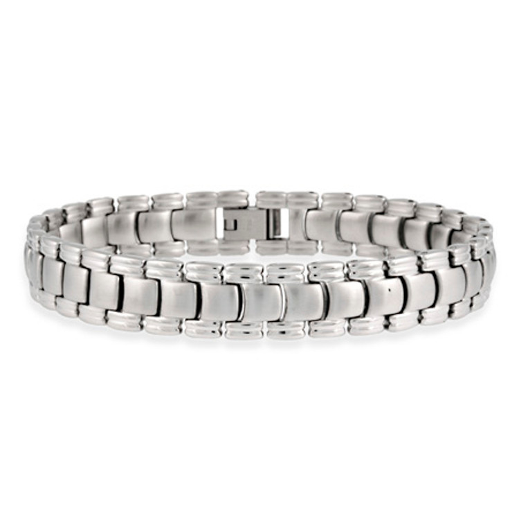 Mens Stainless Steel Hip Hop Watch Band Link Bracelet