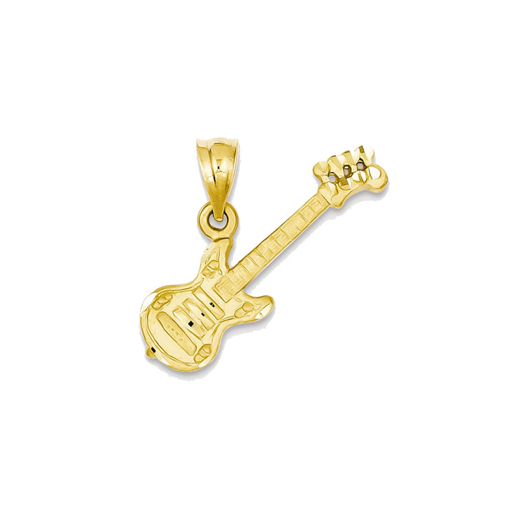 Mens 14k Yellow Gold Electric Guitar Bling Jewelz Pendant