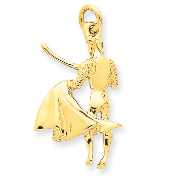 14k Yellow Gold Polished Matador Bull Fighter Pendant