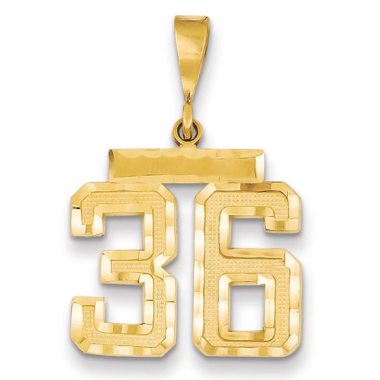 14k Yellow Gold Medium Diamond-Cut Number 36 Bling Jewelz Pendant