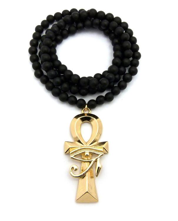 14k Gold Ankh Cross Eye of Ra Egypt Pendant