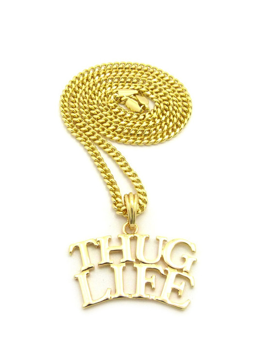 Hip Hop Thug Life 14k Gold Pendant Cuban Link Chain