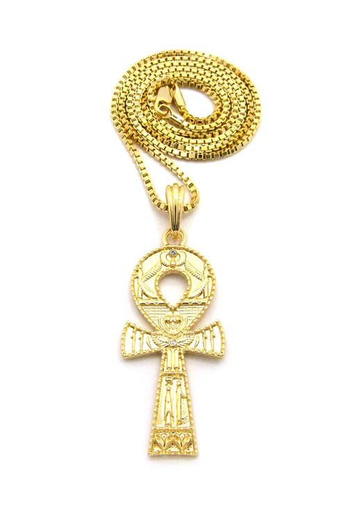 Ancient Egyptian Ankh Cross Diamond Cz 14k Gold Pendant