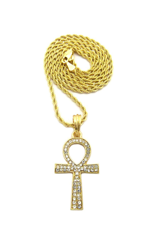 14k Gold Ankh Cross Chain