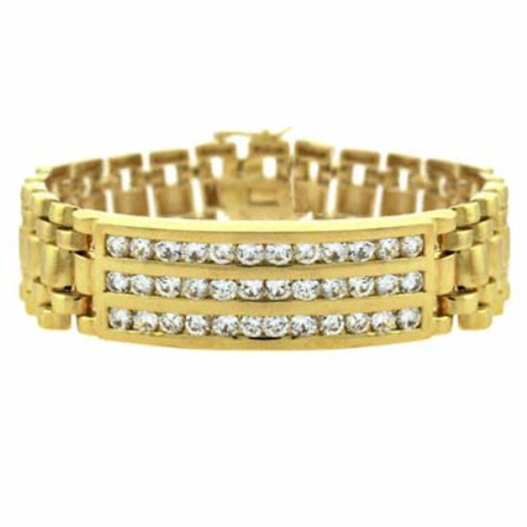 Totally Iced Out Simulated Diamond 18k Gold Bracelet