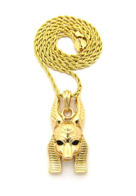 14k Gold Egyptian God Anpu Anubis Pendant Rope Chain