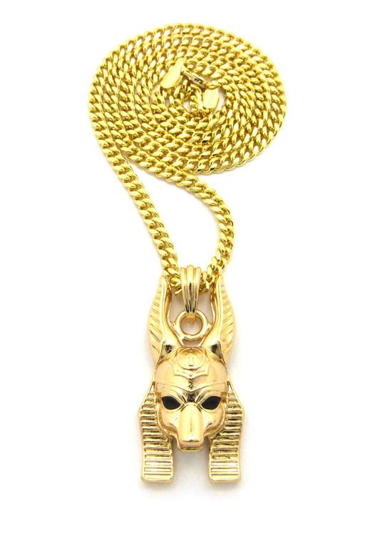 14k Gold Egyptian God Anpu Anubis Pendant Cuban Chain