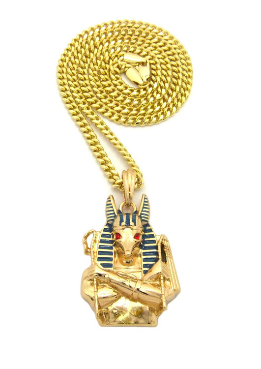14k Gold Egyptian God Anubis Enameled Cz Pendant Cuban Chain