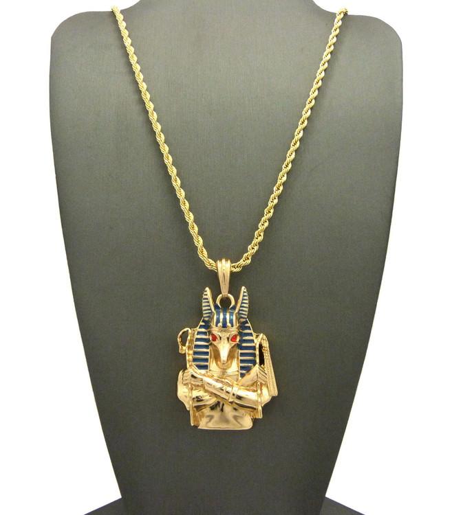 14k Gold Egyptian God Anubis Enameled Cz Pendant Rope Chain