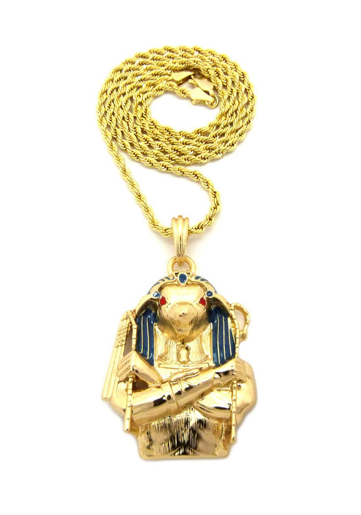 14k Gold Egyptian Horus Bird Cz Pendant Rope Chain