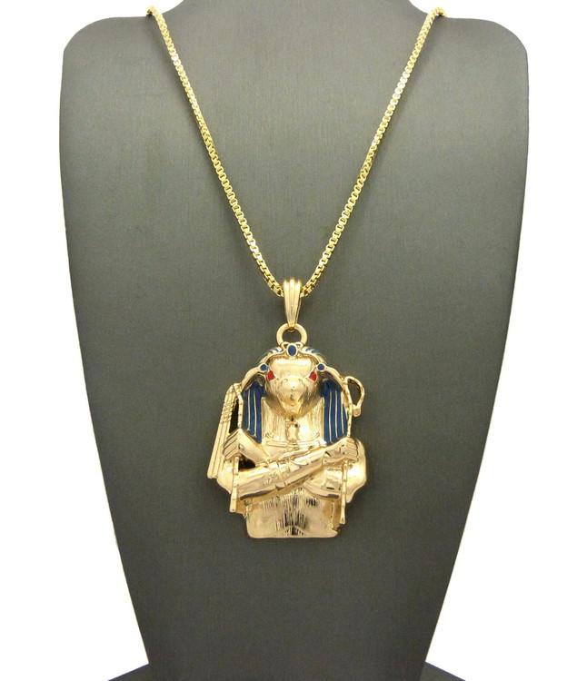 14k Gold Egyptian Horus Bird Cz Pendant Chain