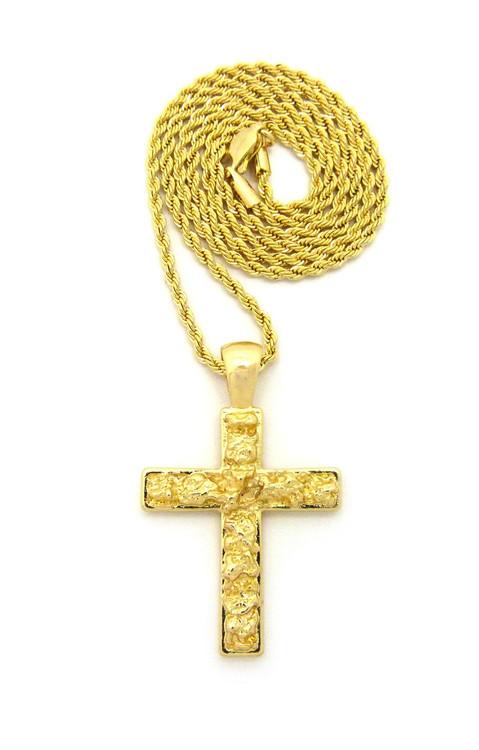 Men's 14k Gold GP Nugget Cross Rope Chain Pendant